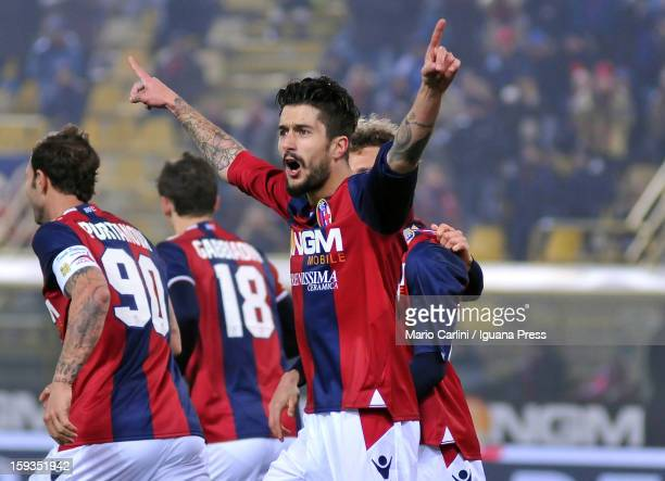 Panagiotis Kone of Bologna FC celebrates after scoring his team's first goal during the Serie A match between Bologna FC and AC Chievo Verona at...