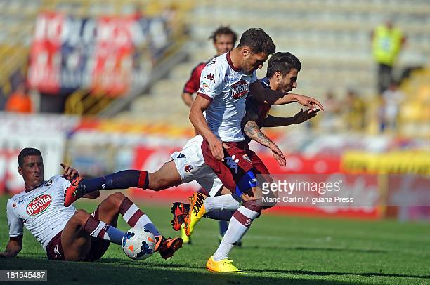 Panagiotis Kone of Bologna FC competes the ball with Danilo D'ambrosio of Torino FC during the Serie A match between Bologna FC and Torino FC at...