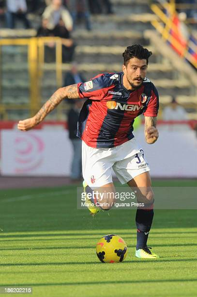Panagiotis Kone of Bologna FC in action during the Serie A match between Bologna FC and AS Livorno Calcio at Stadio Renato Dall'Ara on October 27...
