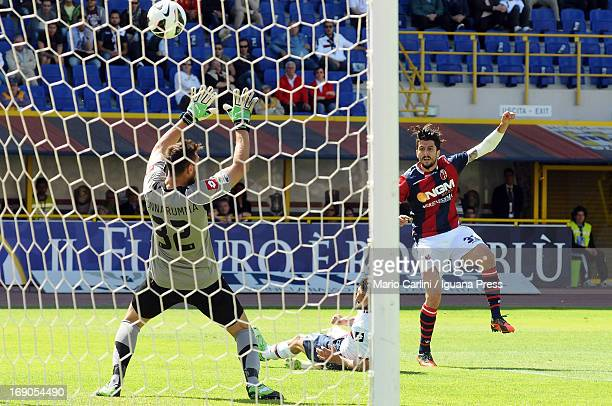 Panagiotis Kone of Bologna FC kicks on goal during the Serie A match between Bologna FC and Genoa CFC at Stadio Renato Dall'Ara on May 19 2013 in...