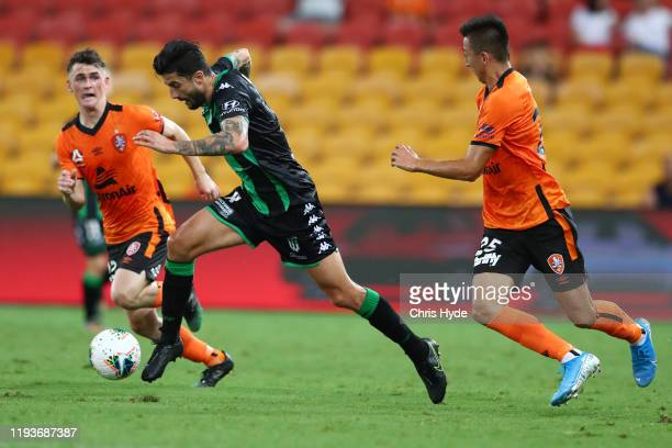 Panagiotis Kone of Western United kicks during the round 10 A-League match between the Brisbane Roar and Western United at Suncorp Stadium on...