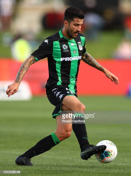 Panagiotis Kone of Western United runs with the ball during the round 16 A-League match between Western United and Adelaide United at Whitten Oval on...