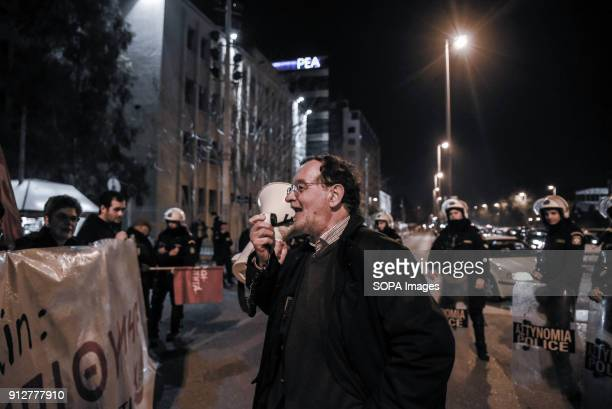 Panagiotis Lafazanis Party leader of Popular Unity speaks to the crowd during the protest against the visit of Israeli President Reuven Rivlin in...