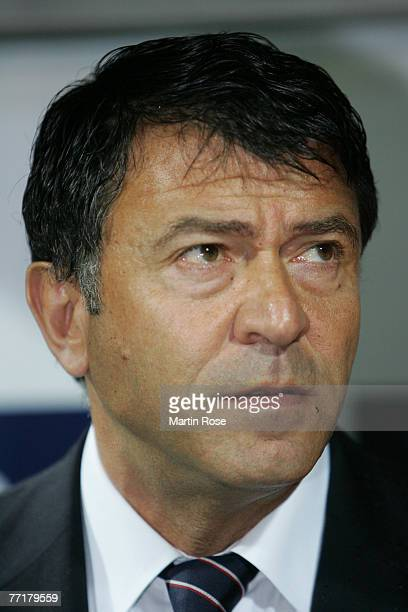 Panagiotis Lemonis head coach of Piraeus poses prior the UEFA Champions League Group C match between Werder Bremen and Olympiakos Piraeus at the...
