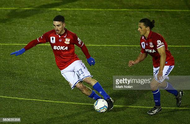 Panagiotis Nikas of Sydney United 58 FC in action during the FFA Cup round of 32 match between Blacktown City and Sydney United 58 FC at Lilly's...