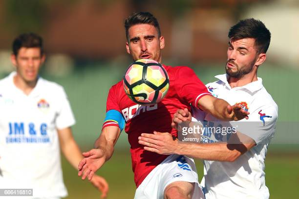 Panagiotis Nikas of United 58 is challenged for the ball during the Men's NSW NPL match between Sydney United 58 FC and Bonnyrigg White Eagles at...