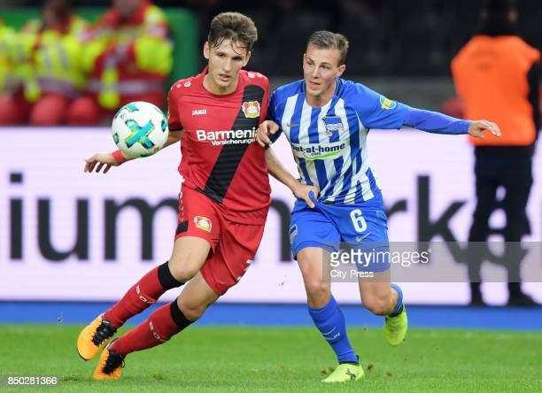 Panagiotis Retsos of Bayer 04 Leverkusen and Vladimir Darida of Hertha BSC during the game between Hertha BSC and Bayer 04 Leverkusen on september 20...
