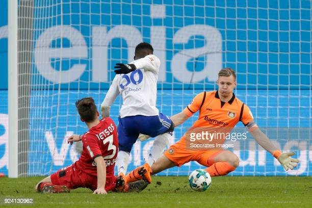 Panagiotis Retsos of Bayer Leverkusen Breel Embolo of Schalke 04 Bernd Leno of Bayer Leverkusen during the German Bundesliga match between Bayer...