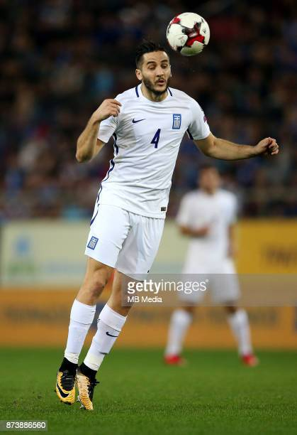 Panagiotis Retsos of Greece controls the ball during the FIFA 2018 World Cup Qualifier playoff second leg match between Greece and Croatia at...