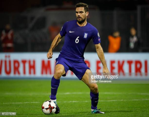 Panagiotis Retsos of Greece in action during the FIFA 2018 World Cup Qualifier PlayOff First Leg between Croatia and Greece at Stadion Maksimir on...