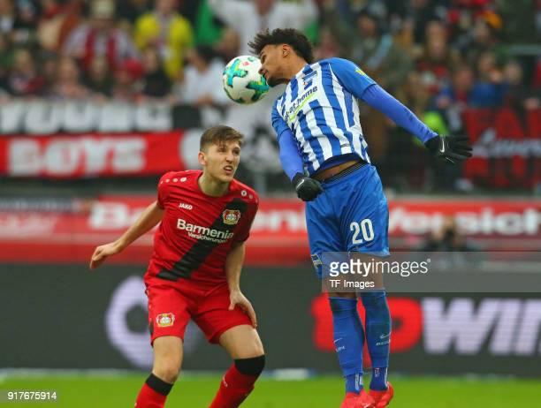 Panagiotis Retsos of Leverkusen and Valentino Lazaro of Berlin battle for the ball during the Bundesliga match between Bayer 04 Leverkusen and Hertha...