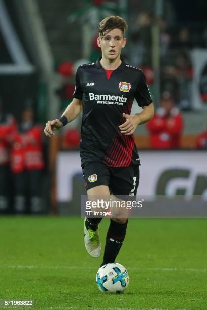 Panagiotis Retsos of Leverkusen controls the ball during the Bundesliga match between FC Augsburg and Bayer 04 Leverkusen at WWKArena on November 4...