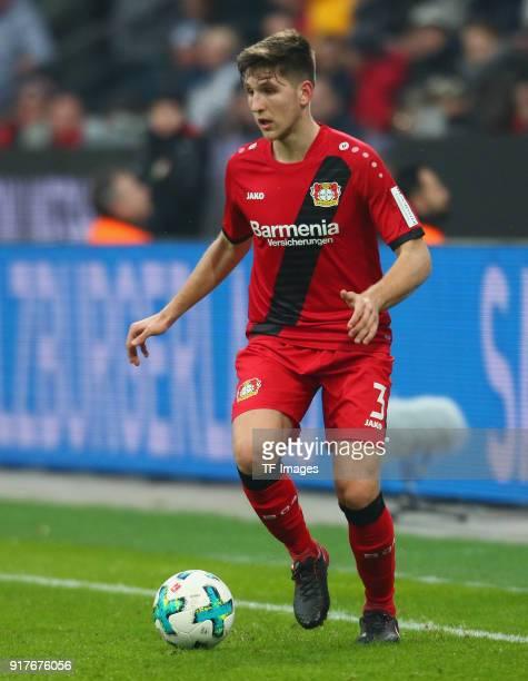Panagiotis Retsos of Leverkusen controls the ball during the Bundesliga match between Bayer 04 Leverkusen and Hertha BSC at BayArena on February 10...
