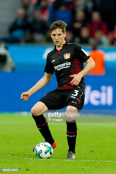 Panagiotis Retsos of Leverkusen controls the ball during the Bundesliga match between Bayer 04 Leverkusen and VfB Stuttgart at BayArena on April 28...