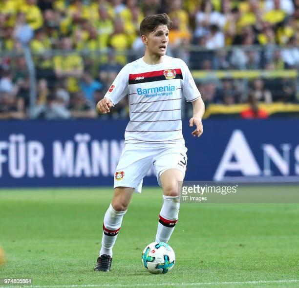 Panagiotis Retsos of Leverkusen controls the ball during the Bundesliga match between Borussia Dortmund and Bayer 04 Leverkusen at Signal Iduna Park...
