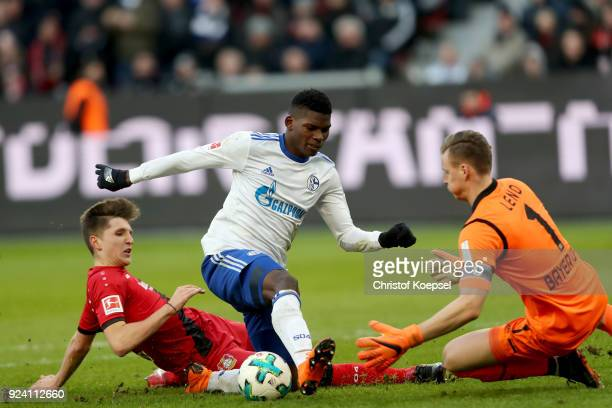 Panagiotis Retsos of Leverkusen fouls Breel Embolo of Schalke in the penalty area during the Bundesliga match between Bayer 04 Leverkusen and FC...