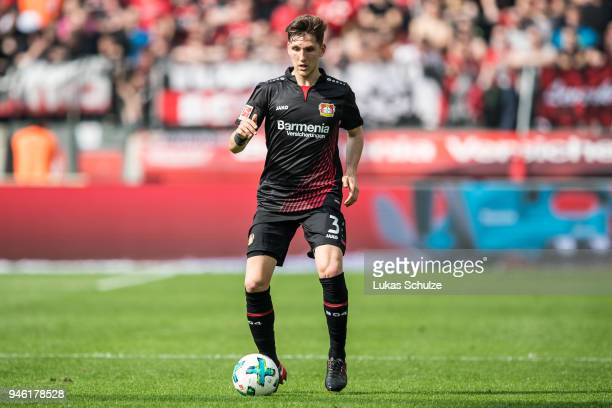 Panagiotis Retsos of Leverkusen in action during the Bundesliga match between Bayer 04 Leverkusen and Eintracht Frankfurt at BayArena on April 14...
