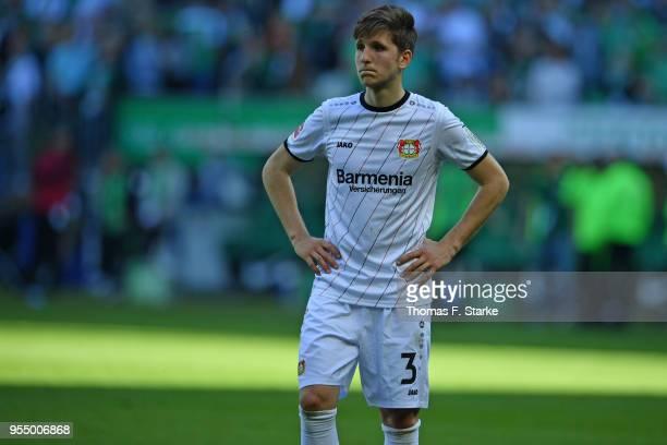 Panagiotis Retsos of Leverkusen looks dejected after the Bundesliga match between SV Werder Bremen and Bayer 04 Leverkusen at Weserstadion on May 5...