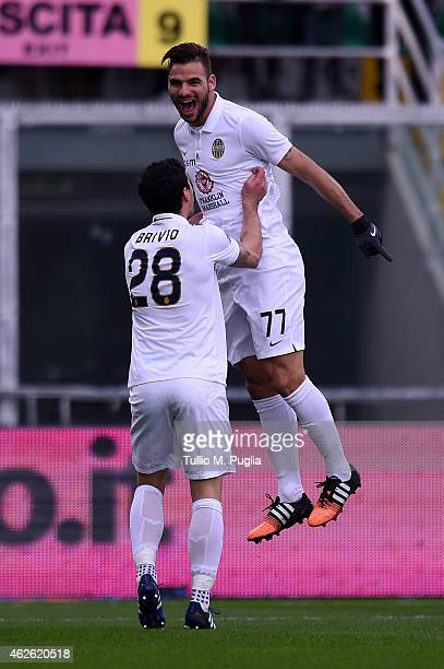 Panagiotis Tachtsidis celebrates after scoring the opening goal during the Serie A match between US Citta di Palermo and Hellas Verona FC at Stadio...