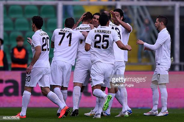 Panagiotis Tachtsidis celebrates with team mates after scoring the opening goal during the Serie A match between US Citta di Palermo and Hellas...
