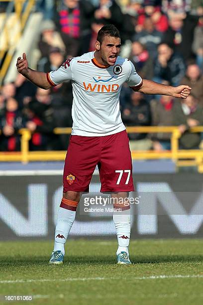 Panagiotis Tachtsidis of AS Roma celebrates after scoring his team's third goal during the Serie A match between Bologna FC and AS Roma at Stadio...