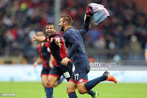 Panagiotis Tachtsidis of Genoa CFC celebrates after scoring a goal during the Serie A match between Genoa CFC and AC Chievo Verona at Stadio Luigi...