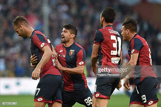 Panagiotis Tachtsidis of Genoa CFC celebrates his goal with team mates during the Serie A match between Genoa CFC and AS Roma at Stadio Luigi...
