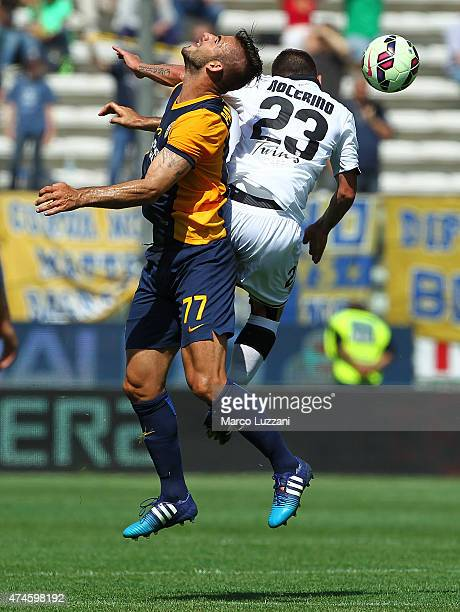 Panagiotis Tachtsidis of Hellas Verona FC competes for the ball with Antonio Nocerino of Parma FC during the Serie A match between Parma FC and...