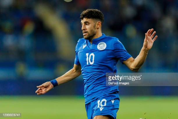 Panagiotis Zachariou of Cyprus looks on during the international friendly match between Ukraine and Cyprus at Metalist Stadium on June 7, 2021 in...