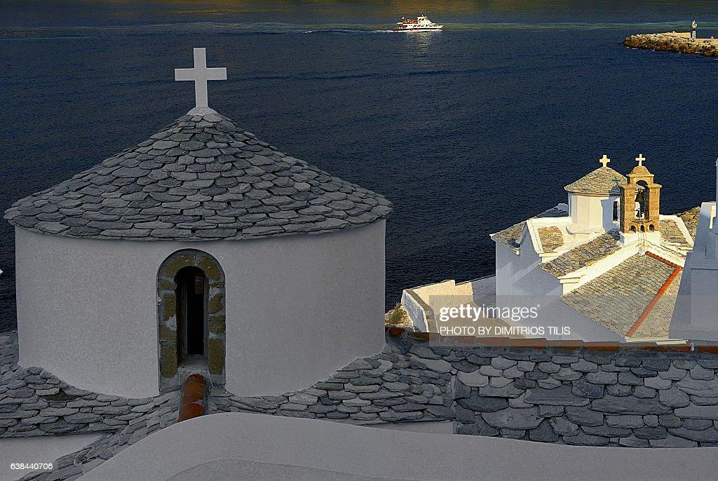 Panagitsa of chateeau Skopelos : Stock Photo