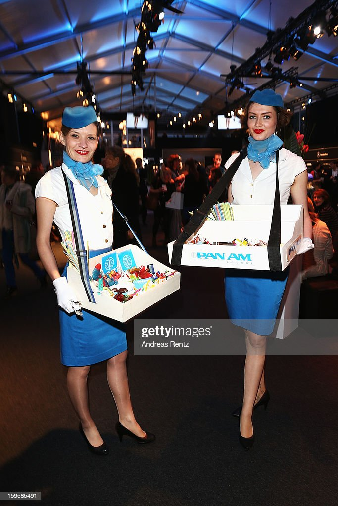 PanAm Hostesses attend Holy Ghost Autumn/Winter 2013/14 fashion show during Mercedes-Benz Fashion Week Berlin at Brandenburg Gate on January 16, 2013 in Berlin, Germany.
