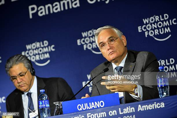 Panama Canal Administrator Jorge Quijano speaks during a press conference next to the Founder and Group Chief Executive of The Abraaj Group Pakistani...