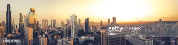 panama city panorama skyline at sunset, panama - panama city panama stock pictures, royalty-free photos & images