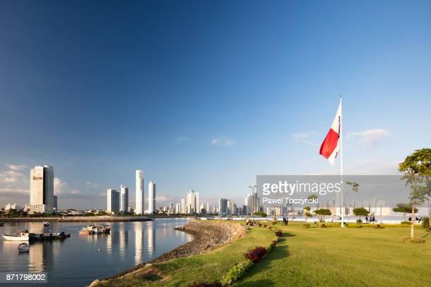 panama city skyline seen from casco viejo - panama city panama stock pictures, royalty-free photos & images