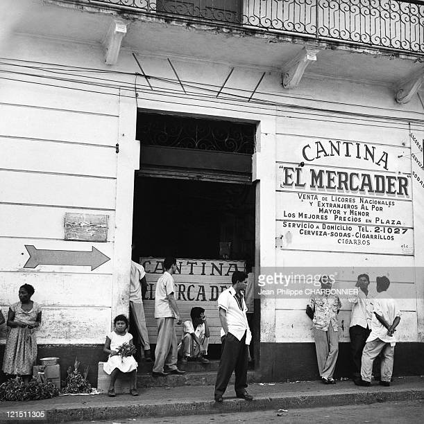 Panama City Street Scene In Front Of A Bar In The 1950'S