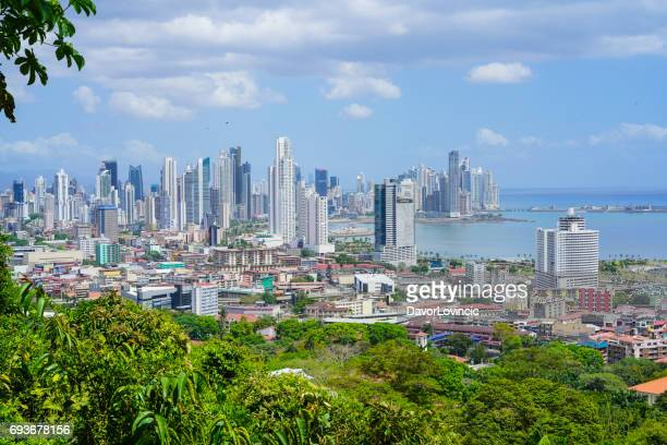 panama city view from ancon hill, panama - panama city panama stock pictures, royalty-free photos & images