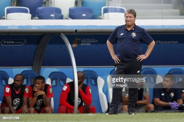 Panama coach Hernan Dario Gomez during the 2018 FIFA World Cup Russia group G match between England and Panama at the Nizhny Novgorod stadium on June...