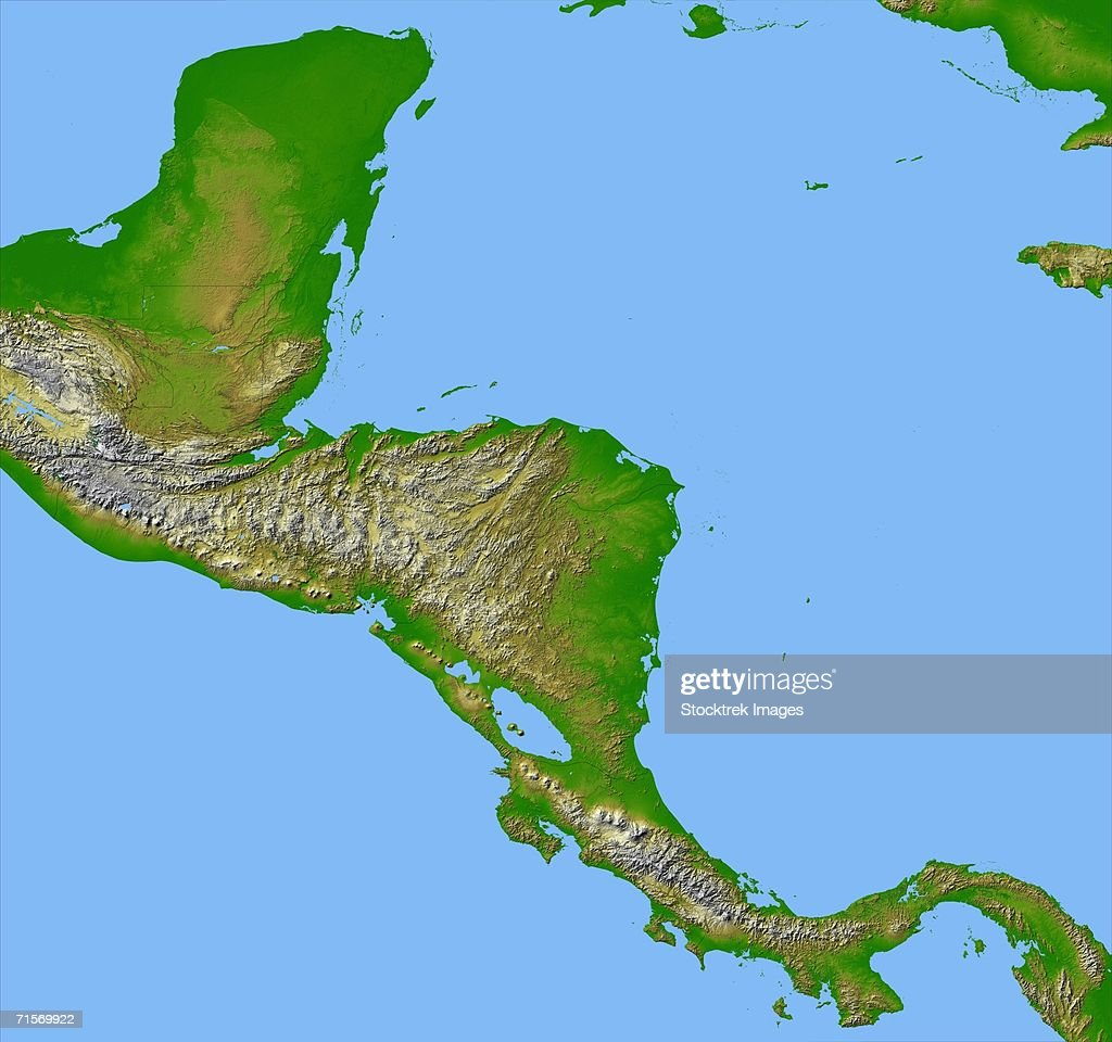 """""""Panama, Costa Rica, Nicaragua, El Salvador, Honduras, Guatemala, Belize, southern Mexico and parts of Cuba and Jamaica are all seen in this image from NASA's Shuttle Radar Topography Mission."""" : Stock Photo"""