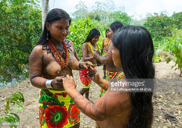Panama Darien province Bajo Chiquito Women of the native indian Embera tribe dancing on April 13 2015 in Bajo Chiquito Panama