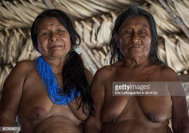 Panama Darien province Puerta Lara Old women of Embera native community on April 11 2015 in Puerta Lara Panama