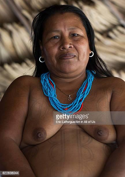 Panama Darien province Puerta Lara Woman of Wounaan native community on April 11 2015 in Puerta Lara Panama
