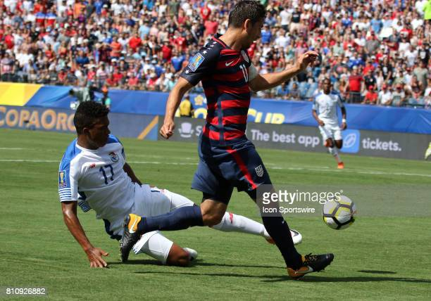 Panama defender Luis Ovalle tackles the ball away from United States midfielder Alejandro Bedoya in the group stage of the CONCACAF Gold Cup between...