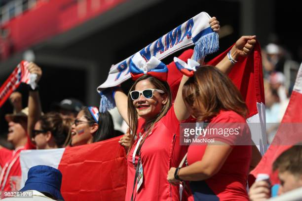 Panama fans are seen during the 2018 FIFA World Cup Russia group G match between England and Panama at Nizhniy Novgorod Stadium on June 24 2018 in...