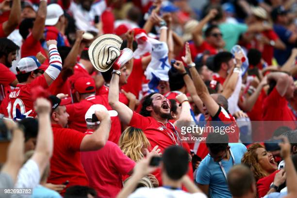 Panama fans celebrate their sides first ever World Cup goal during the 2018 FIFA World Cup Russia group G match between England and Panama at Nizhny...