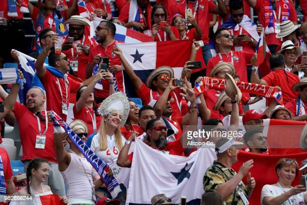 Panama fans cheer during the 2018 FIFA World Cup Russia group G match between England and Panama at Nizhny Novgorod Stadium on June 24 2018 in Nizhny...