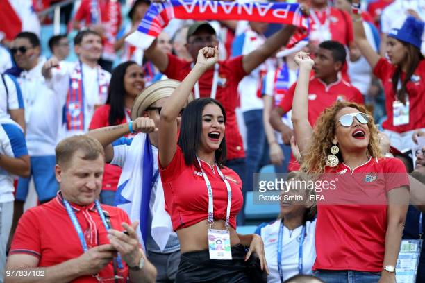 Panama fans show their support during the 2018 FIFA World Cup Russia group G match between Belgium and Panama at Fisht Stadium on June 18 2018 in...