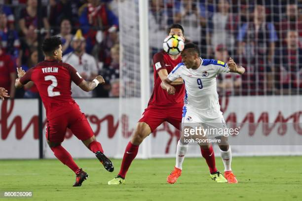 Panama forward Gabriel Torres executes a header during the World Cup Qualifying soccer match between the US Mens National Team and Panama on October...