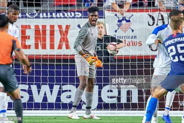 Panama goalkeeper Eddie Roberts calls for his teammates to be in position for a corner kick in game action during an international friendly match...