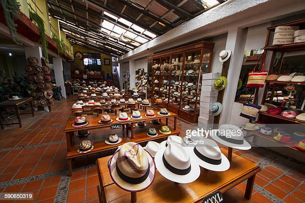 Panama hats for sale in the showroom of the Barranco Panama Hat Factory Cuenca Azuay Ecuador