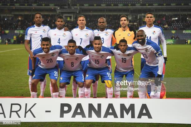 Panama line up before the International Friendly match between Denmark and Panama at Brondby Stadion on March 22 2018 in Brondby Denmark